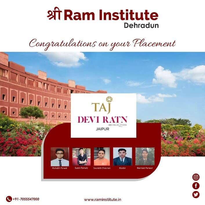 Congratulating our Gems for grabbing a commendable job opportunity with Taj Devi Ratn , Jaipur