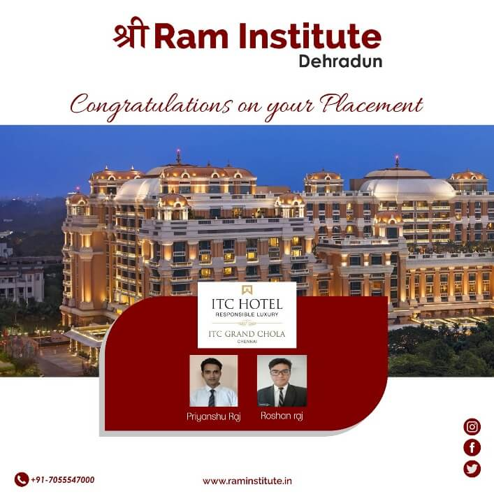 Congratulating our Gems for grabbing a commendable job opportunity with ITC Grand Chola , Chennai