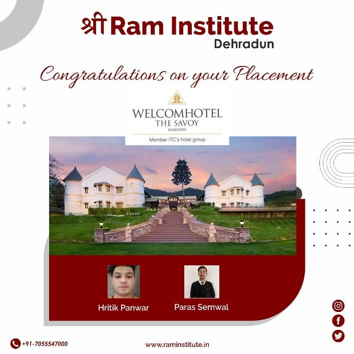 Congratulating our Gems for grabbing a commendable job opportunity with Welcome Hotel The Savoy , Mussoorie