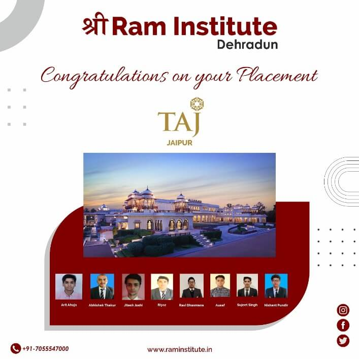 Congratulating our Gems for grabbing a commendable job opportunity with Taj , Jaipur
